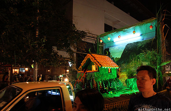 Loy Krathong grand parade farm float- Chiang Mai Thailand
