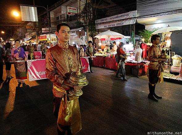 Loy Krathong grand parade students men Chiang Mai Thailand