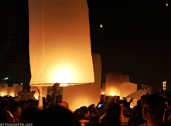 Maejo grounds big lantern Yi Peng celebrations Chiang Mai