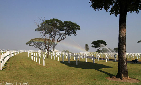 Manila American Cemetery and Memorial rainbow sprinkler