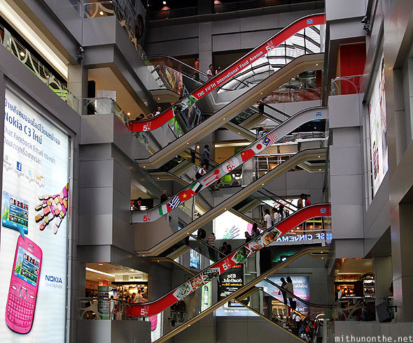 MBK mall escalators advertising Bangkok