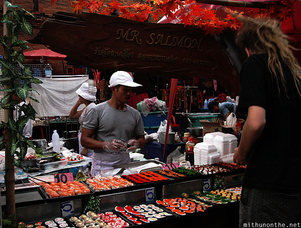 Mr Salmon sushi street food Chiang Mai Thailand