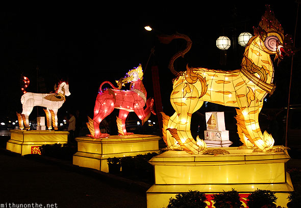 Mythical creatures lanterns decorations Chiang Mai Loy Krathong