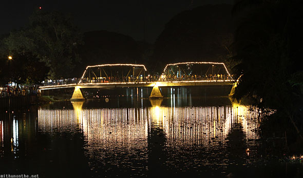 Ping river bridge lit up Chiang Mai