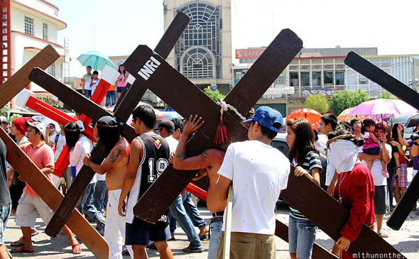 San Fernando Pampanga Good Friday celebrations crosses