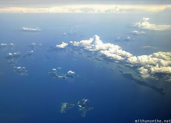 South China sea islands from plane