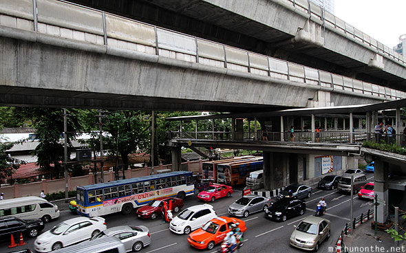 Sukhumvit road Bangkok traffic BTS Skytrain tracks