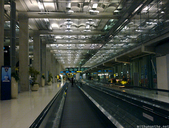 Suvarnabhumi airport Thailand moving walkway