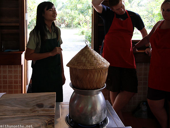 Thai Farm Cooking class making rice