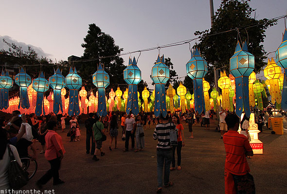 Thapae gate colourful lanterns display Yi Peng festival