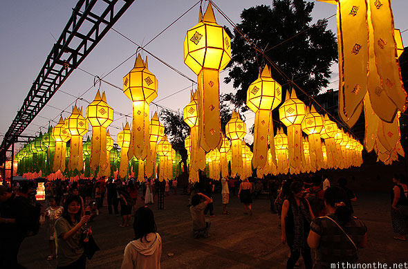 Thapae Gate yellow lanterns display Loi Krathong Chiang Mai