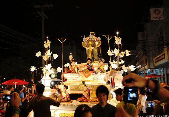 Yi Peng float grand parade Chiang Mai Thailand