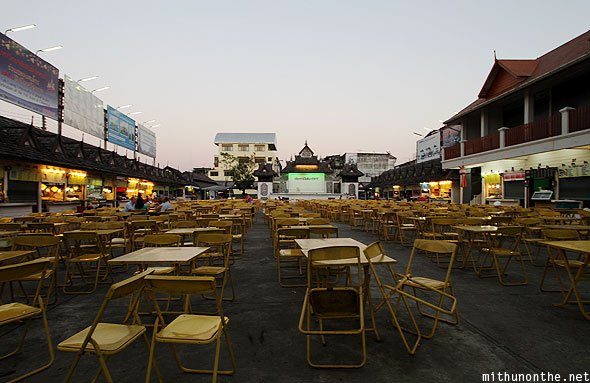 Chiang Rai night market food court golden chairs
