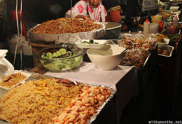 Chiang Mai fried rice shrimp cashews street food Thailand