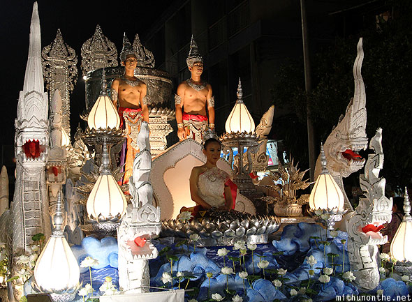 Chiang Mai Loi Krathong grand parade elaborate float Thailand