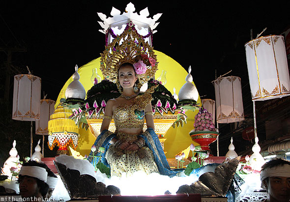 Chiang Mai Loy Krathong grand parade princess float Thailand