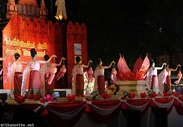 Chiang Mai Miss Loy Krathong stage show dance Thapae gate