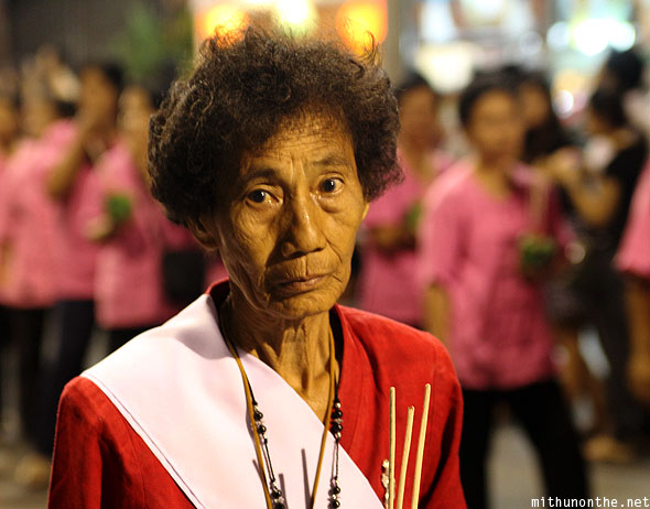 Chiang Mai old Thai lady Loy Krathong grand parade