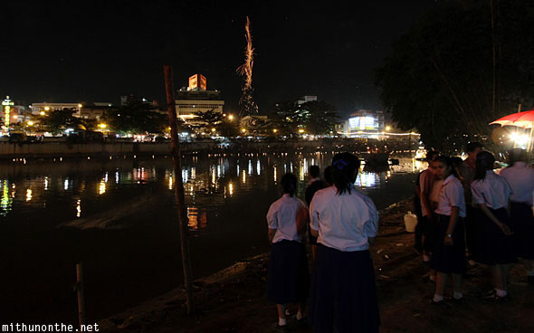 Chiang Mai schoolgirls celebrating Loy Krathong