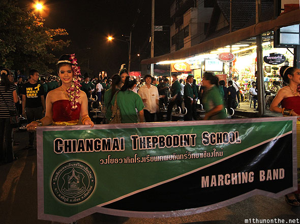 Chiang Mai Thepbodint school marching band Loy Krathong parade