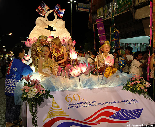 Chiang Mai US consulate family float Loi Krathong parade