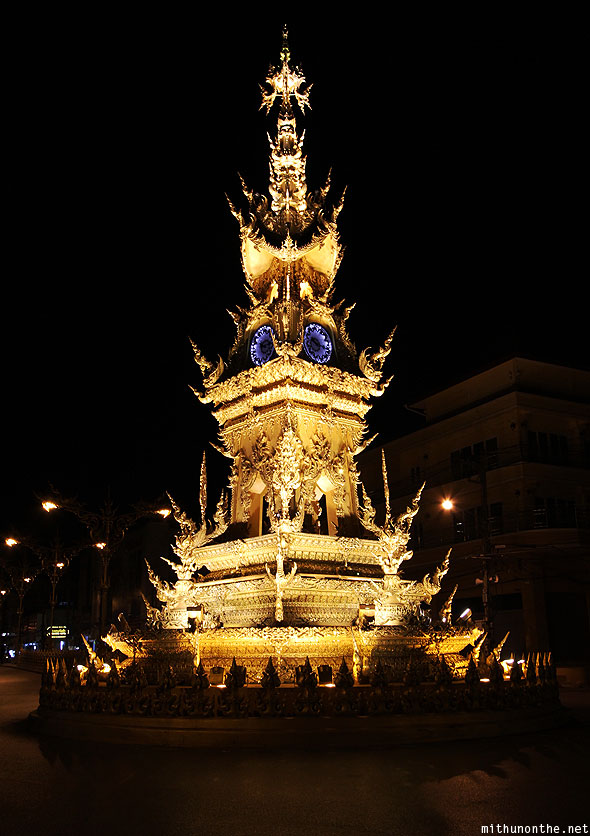 Chiang Rai golden clock tower at night