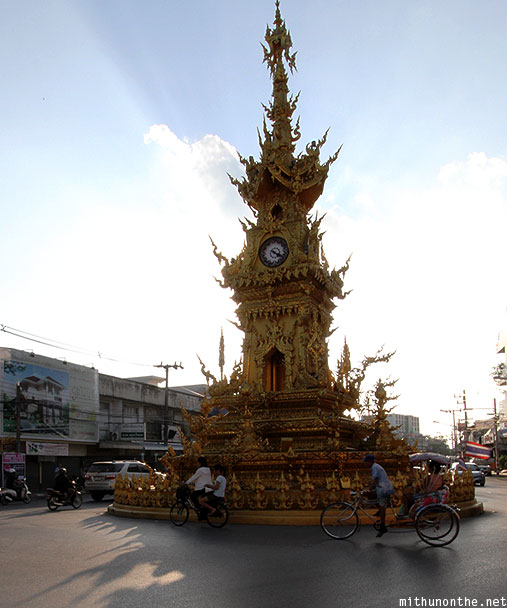 Chiang Rai golden clock tower