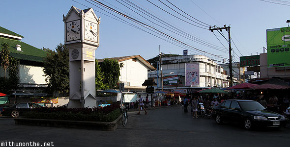 Evening market Chiang Rai clock tower