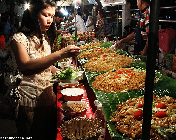 Fried rice noodles pad thai vendor Chiang Mai Thailand