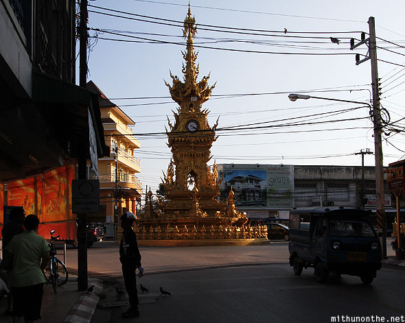 Golden clock tower junction Chiang Rai
