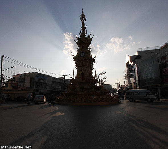 Golden clock tower roundabout Chiang Rai