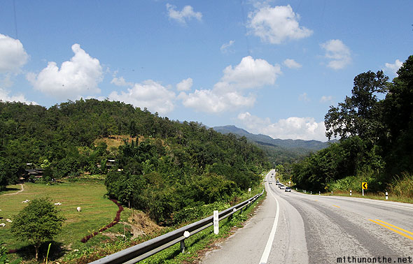 Highway to Chiang Rai north Thailand landscape