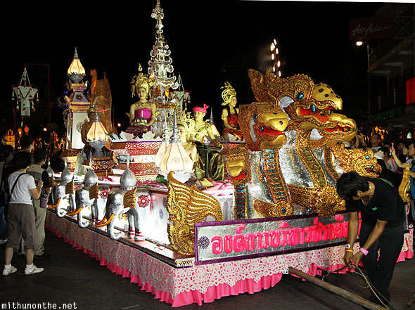 Lavish float Yi Peng grand parade Chiang Mai