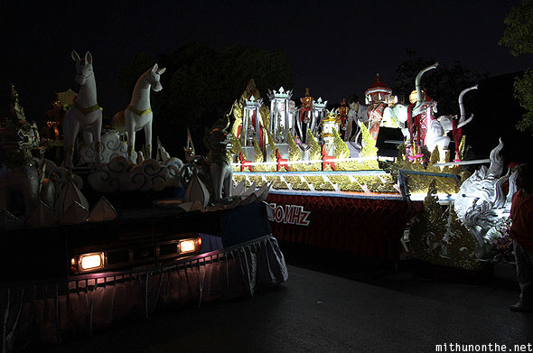 Loy Krathong parade pickup truck floats