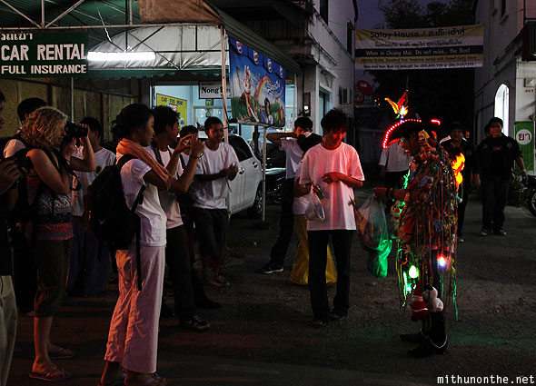Loy Krathong tourists light man