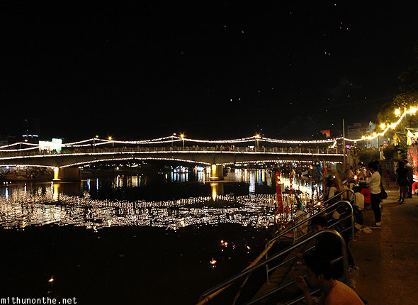 Loy Krathong ping river decorated bridge