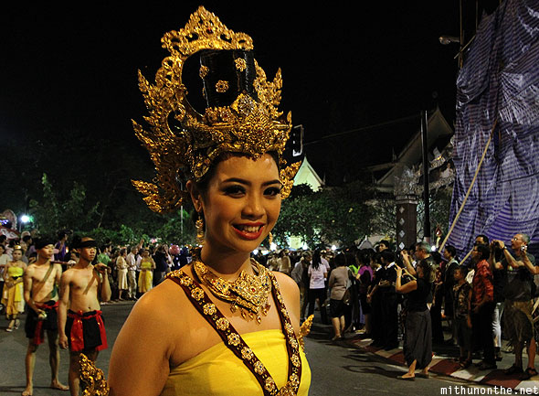 Pretty Thai model traditional jewelry Yi Peng parade