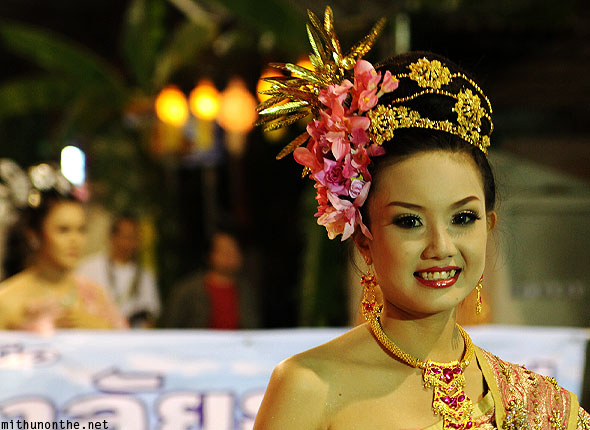 Pretty Thai traditional girl grand parade Chiang Mai
