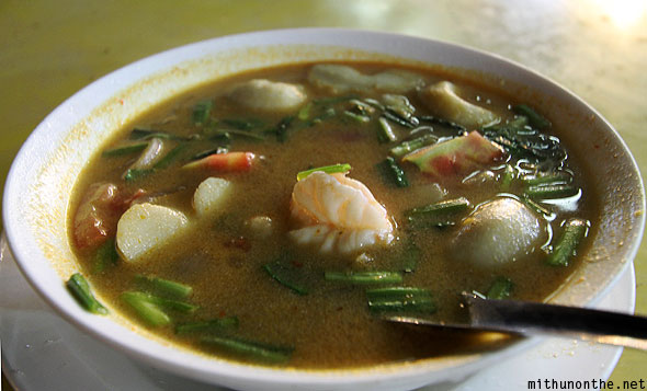 Spicy Thai seafood soup Chiang Rai night bazaar