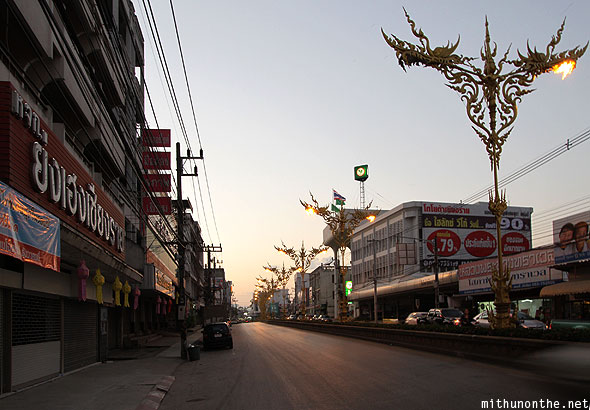 Sukgatis road golden lamp posts Chiang Rai