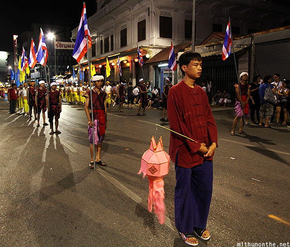 Thai boys grand parade Chiang Mai Loi krathong