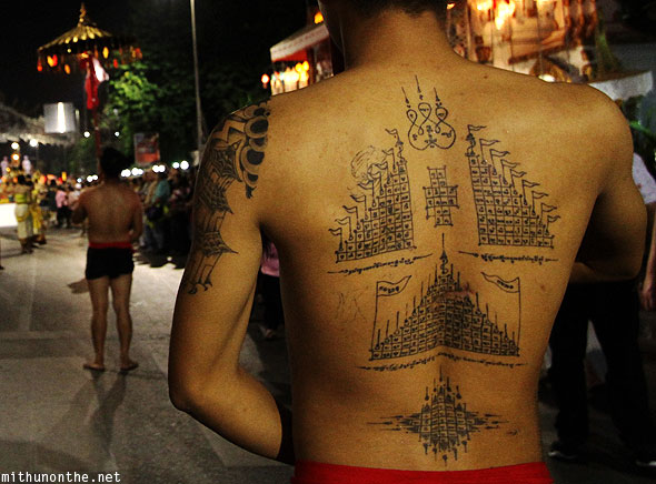 Thai man back tattoo art Chiang Mai