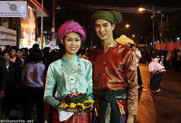 Traditional Thai couple Yi Peng festival parade
