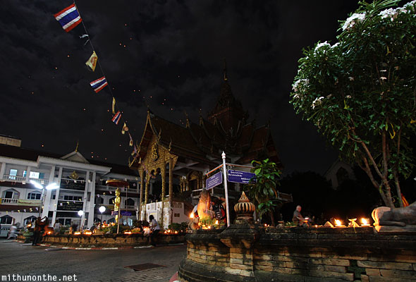 Wat Buppharam Chiang Mai temple at night clouds