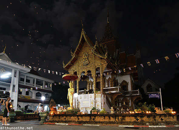 Wat Buppharam Chiang Mai temple at night Yi Peng
