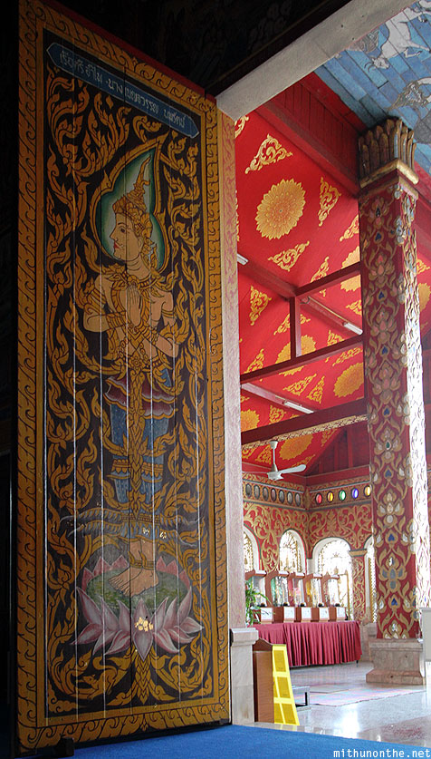 Wat Jedyod door painting Chiang Rai temple Thailand