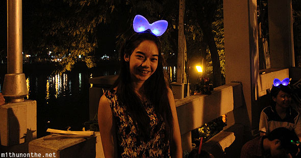 Young Thai girl glowing head band Chiang Mai