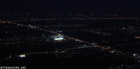 Aerial photograph from plane Bangkok city lights