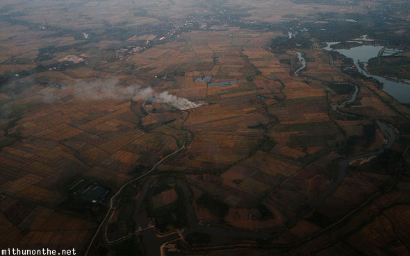 Aerial photograph from plane Chiang Rai farm land