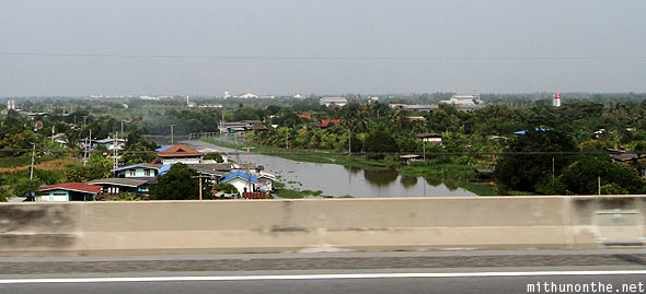 Bangkok highway Thai village river